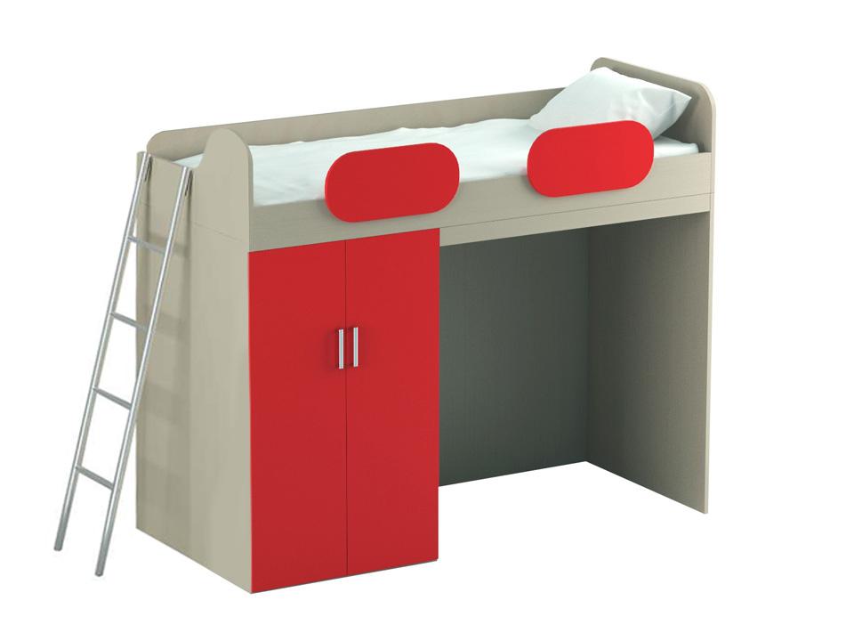 Кровать-чердак MioКровати<br>Кровать-чердак с нижним шкафом. Размер спального места– 800x1950 мм. Может быть в правом и левом исполнении. На нижнем ярусе установлен глубокий шкаф с четырьмя несъемными полками и штангой для одежды. Дополнительно можно установить рабочий стол с полками...<br>