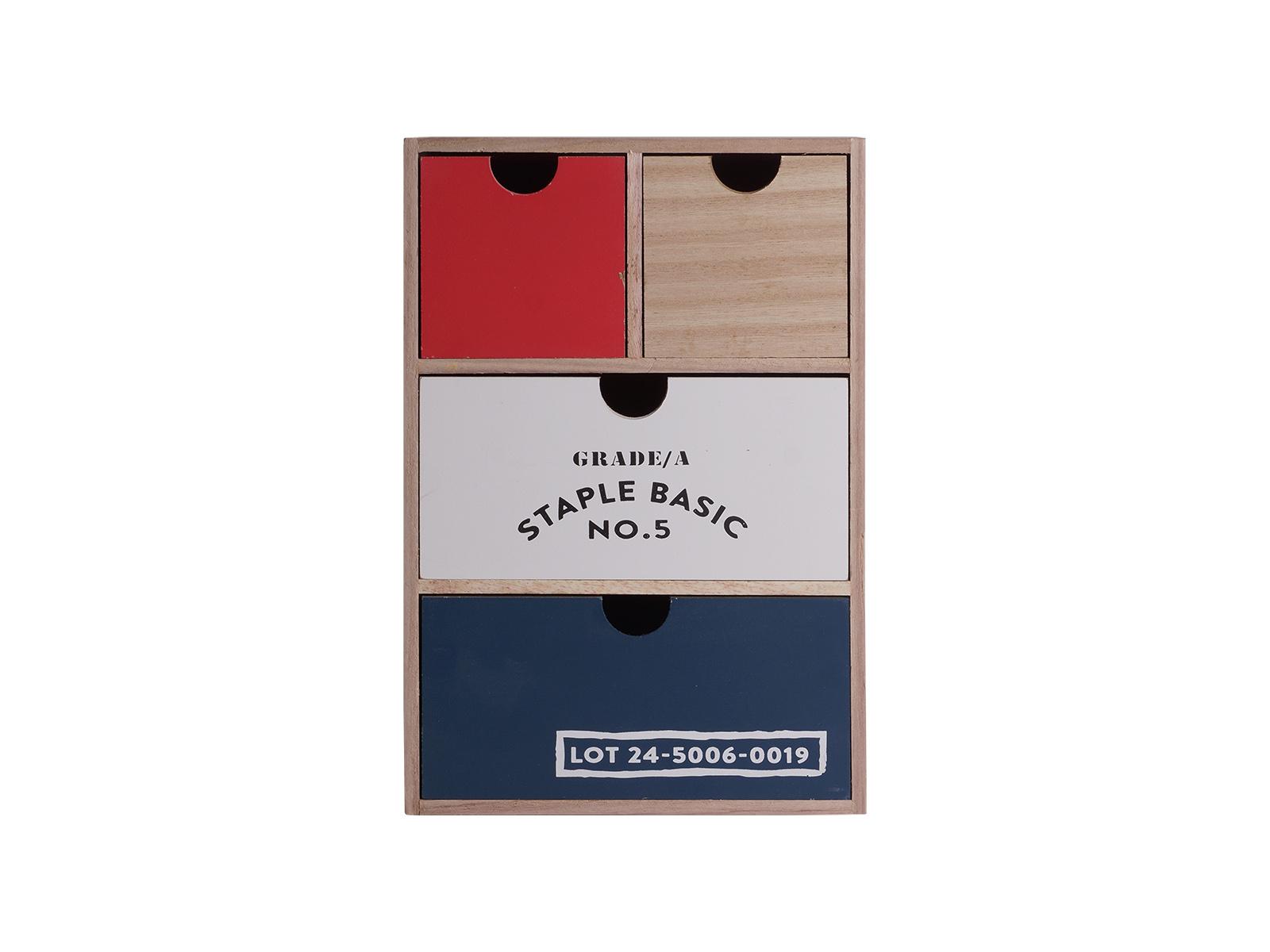 Шкатулка PAULOWNIAХранение<br>Шкатулка для украшений деревянная с 4 ящиками<br>