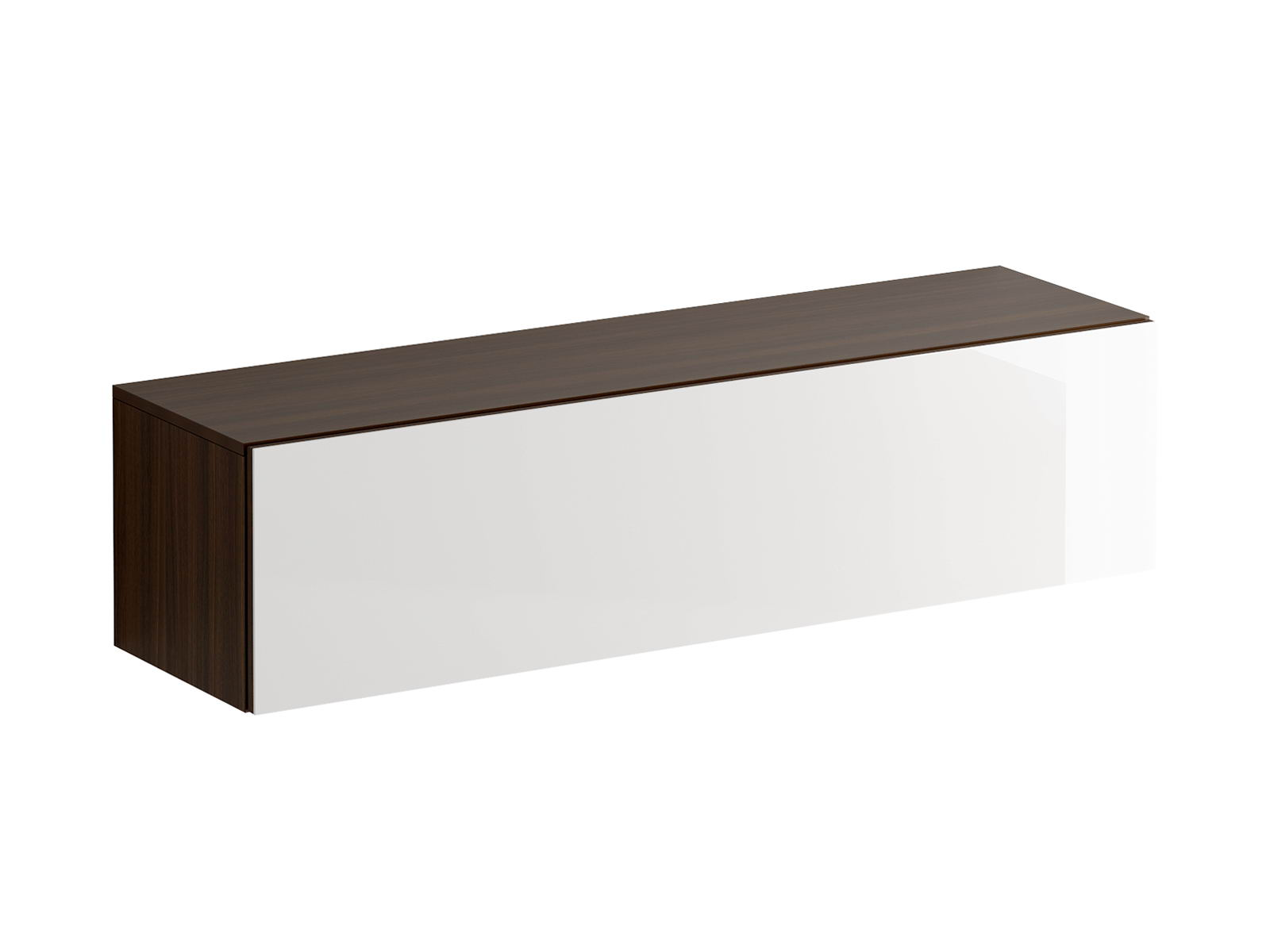 Шкаф навесной GustoШкафы<br>Шкаф имеет два отделения, образованные вертикальной перегородкой. Откидная дверь открывается по принципу «нажал-открыл». Задняя стенка черного цвета.<br>