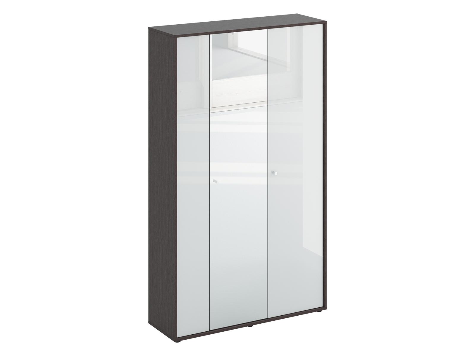 Шкаф трехдверный LatteШкафы и вешалки<br>Шкаф трехдверный. Шкаф стостоит из двух отделений. В большом отделении за двумя распашными дверцами расположены выдвижная штанга для одежды и две полки. В правом отделении расположены 5 полок. Шкаф крепится к стене.<br>