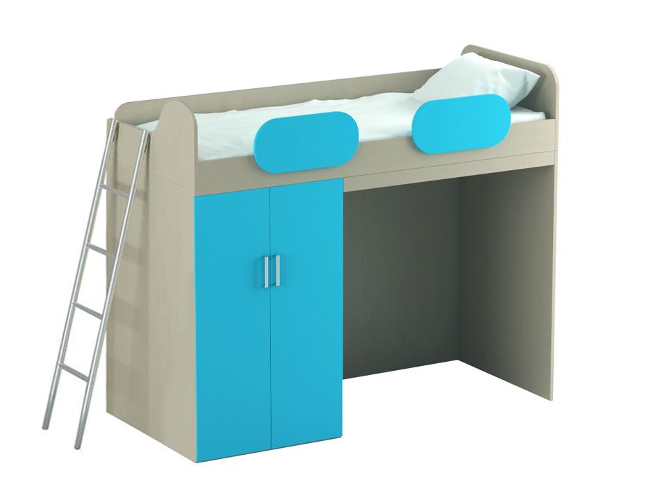 Кровать-чердак MioКровати<br>Кровать-чердак с нижним шкафом. Размер спального места– 800x1950 мм. Может быть в правом и левом исполнении. На нижнем русе установлен глубокий шкаф с четырьм несъемными полками и штангой дл одежды. Дополнительно можно установить рабочий стол с полками...<br>