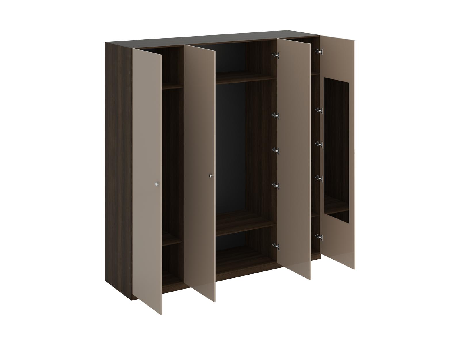Шкаф Uno Ш4зШкафы<br>Шкаф четырехдверный состоит их трёх отделений. В отделениях расположены верхние стационарные и нижние съемными полки. На одной дверце шкафа с внутренней стороны расположено зеркало. Шкаф установлен на регулируемые опоры. Данную мебель рекомендуется крепит...<br>