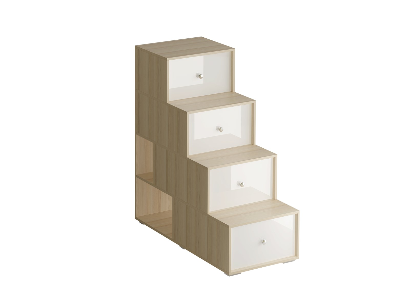 Лестница-комод PlayКровати<br>Лестница-комод состоит из четырёх ступенек. Под ступеньками имеются отделения для хранения. Сбоку лестницы есть две открытые полки. Можно устанавливать и слева и справа от кровати.<br>