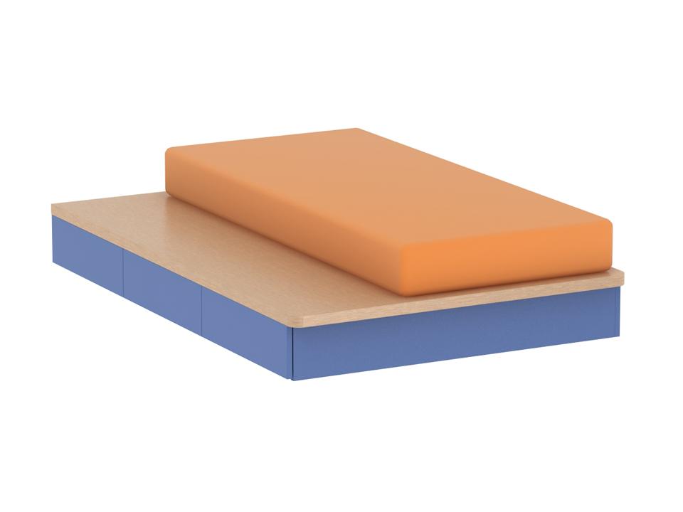 Кровать PinokkioКровати<br>Кровать на подиуме. Размер спального места – 900х2000 мм. В нижней части подиума имеются выдвижные ящики. Ящики открываются по принципу «нажал – открыл». Ящики могут располагаться с правой или с левой стороны подиума.  Матрас не входит в цену кровати<br>