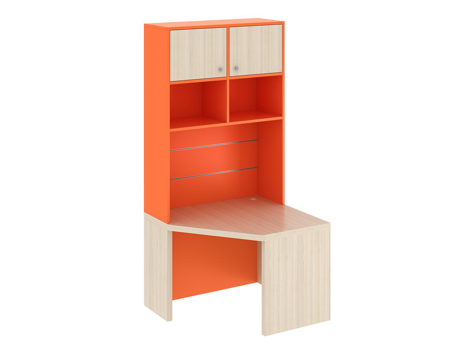 Cекция PinokkioСтолы<br>Рабочая секция угловая левая представляет собой письменный угловой стол с надстроенными  сверху закрытыми и открытыми полками. Дополнительно в секцию можно установить полку со стаканами, металлические и щитовые полки.<br>