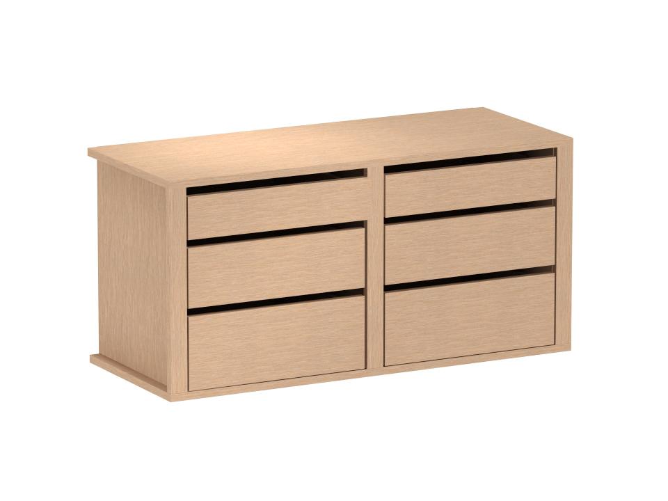 Наполнение комод большойОсновной раздел каталога<br>Внутреннее оснащение для 2-х дверных шкафов (ВШ), состоит из двух секций по 3 ящика.<br>