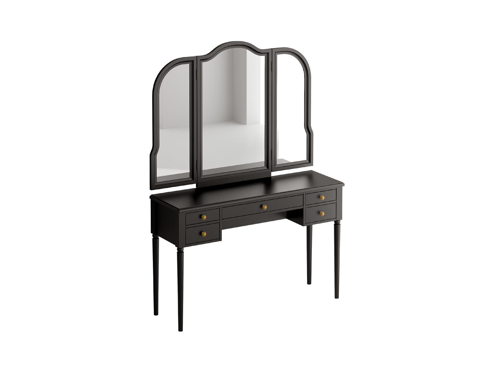 Туалетный столик с трельяжем BluesТуалетные столики<br>Туалетный столик с пятью выдвижными ящиками. Трельяж Blues представляет собой настенное зеркало с двумя распашными створками. Зеркала фигурные, рамочно-филенчатой конструкции. Столик и трельяж необходимо крепить к стене.<br>