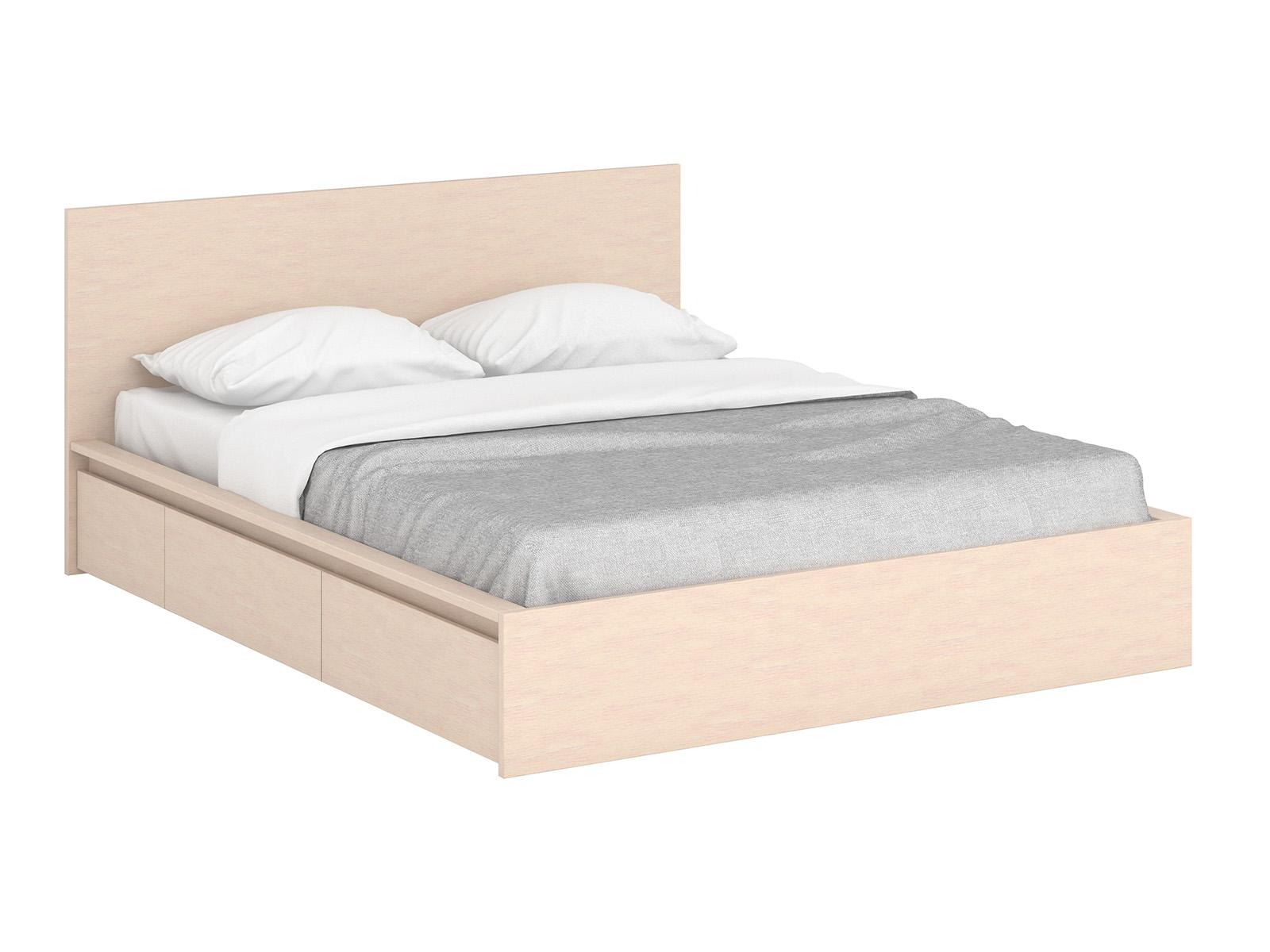Кровать UnitКровати<br>Кровать двуспальная с 4 выкатными ящиками для белья и двумя выдвижными тумбами у изголовья. Основание кровати  - щитовое, с отверстиями для вентиляции. Размер спального места 1600х2000 мм.<br>