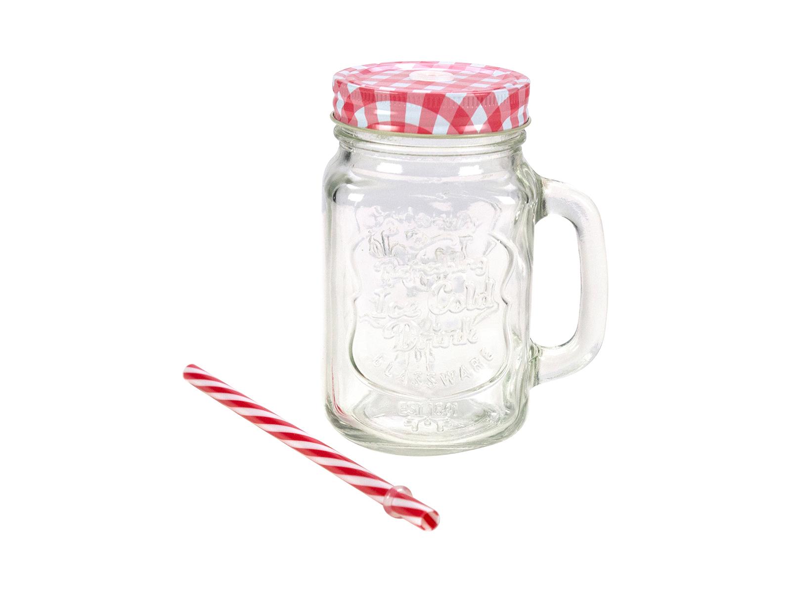 Кружка Mason JarПосуда<br>Кружка для напитков в форме банки с ручкой<br>