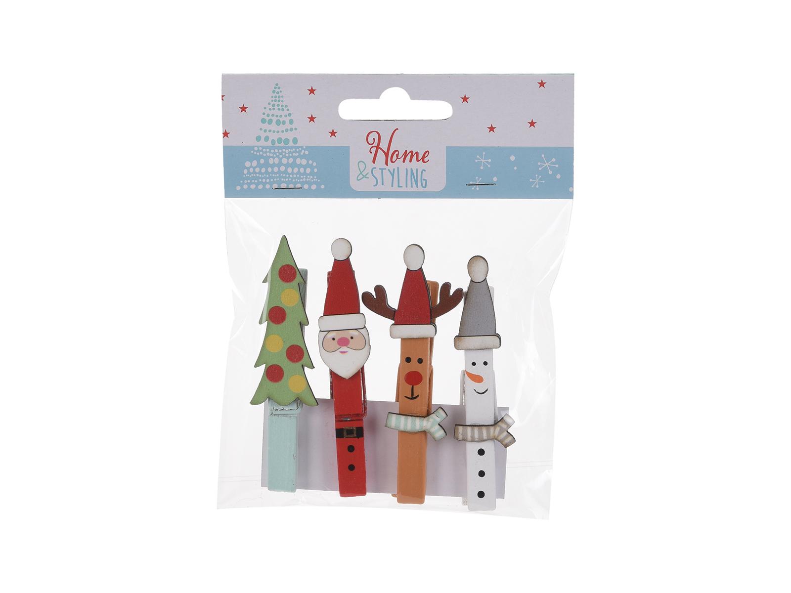 Прищепки ChristmasНовогодний декор<br>Прищепки декоративные, набор из 4 шт.<br>