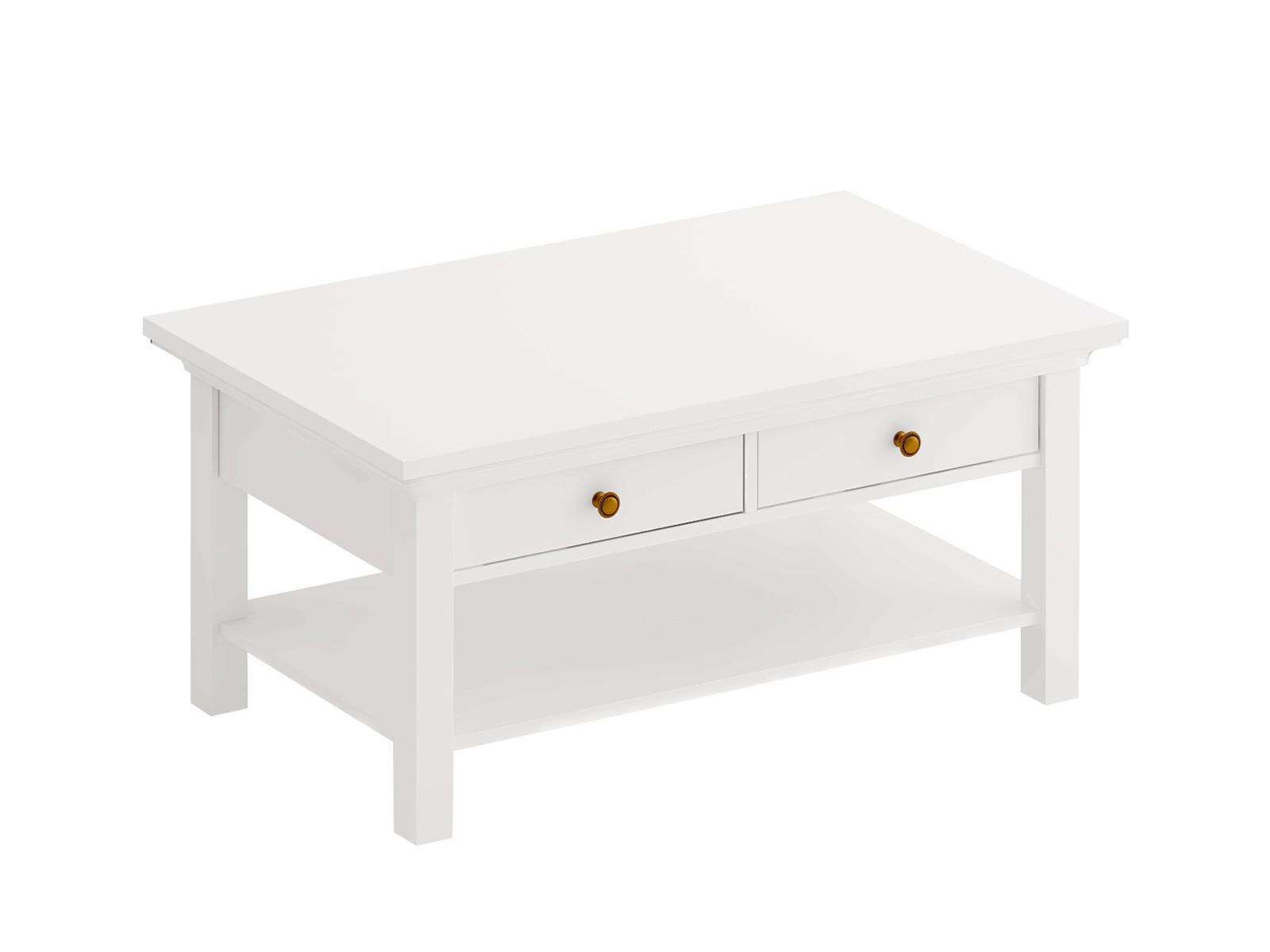 Стол журнальный Reina с выдвижными ящиками БелыйСтолы и столики<br>Стол журнальный с 2-мя выдвижными ящиками<br>