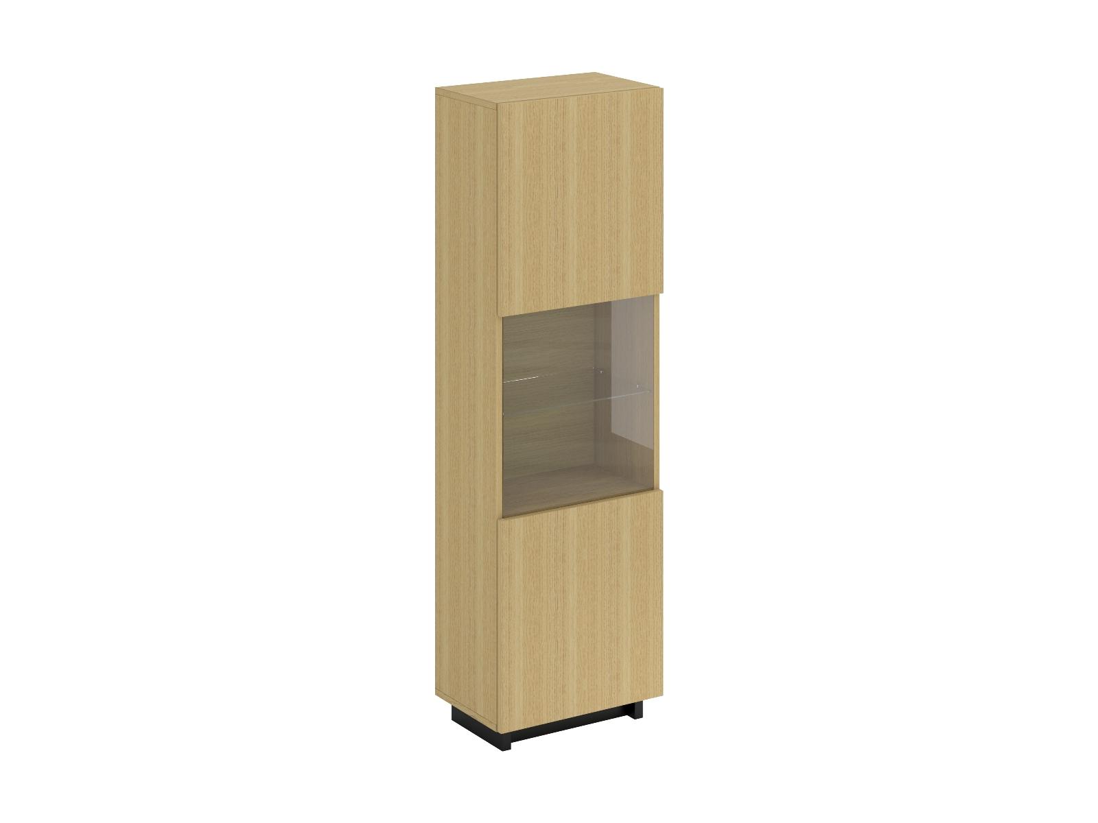 Шкаф-витрина LineШкафы<br>Шкаф-витрина с подсветкой. В шкафу расположены 4 щитовые полки и 1 стеклянная полка. Дверца открывается по принципу «нажал-открыл». Рекомендуется крепить к стене.<br>