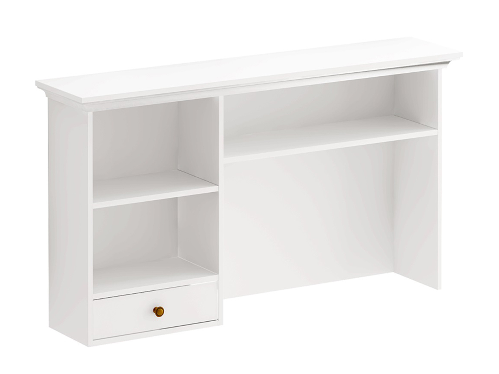 Полочный модуль Reina БелыйСтолы<br>Полочный модуль для установки на крышку стола, либо для навешивания на стену. Имеет выдвижной ящик и полки, уровень которых может регулироваться. При сборке отделение с ящиком может быть установлено слева или справа. Модуль необходимо крепить к стене с по...<br>
