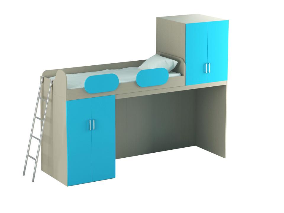 Кровать-чердак MioКровати<br>Кровать-чердак с нижним и верхним шкафами. Размер спального места – 800x1950 мм. Может быть в правом и левом исполнении. На нижнем ярусе установлен глубокий шкаф с четырьмя задними несъемными полками и штангой для одежды. Дополнительно можно установить од...<br>