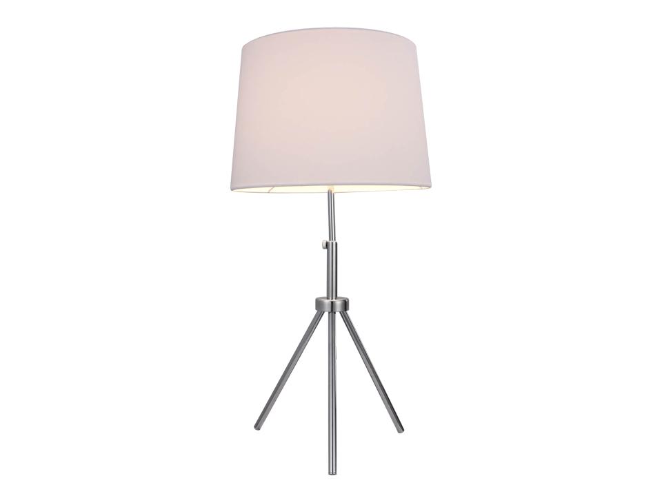Лампа настольная WotСветильники настольные<br>Белая настольная лампа с красным проводом и хромированными металлическими ножками. Цоколь лампы: E27.<br>