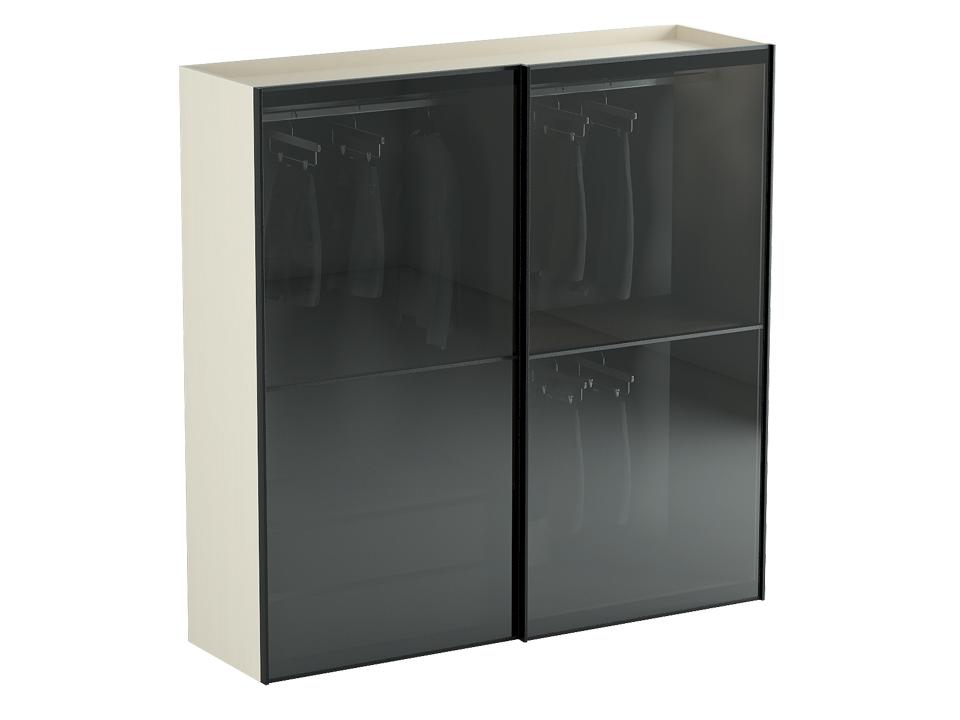 Шкаф NeroШкафы<br>Шкаф-купе со стеклянными дверями и двумя отделениями. В правом отделении: сверху расположена штанга для одежды, в нижней части идут в комплекте штанга для одежды и две съёмные полки. В левом отделении: в верхней части – штанга для одежды, в нижней - комод...<br>