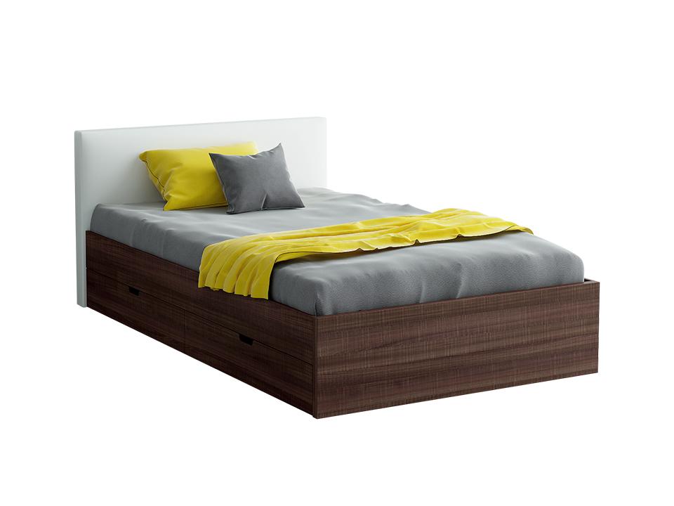 Кровать CityКровати<br>Кровать полутороспальная с мягким изголовьем и двумя выкатными ящиками.<br>