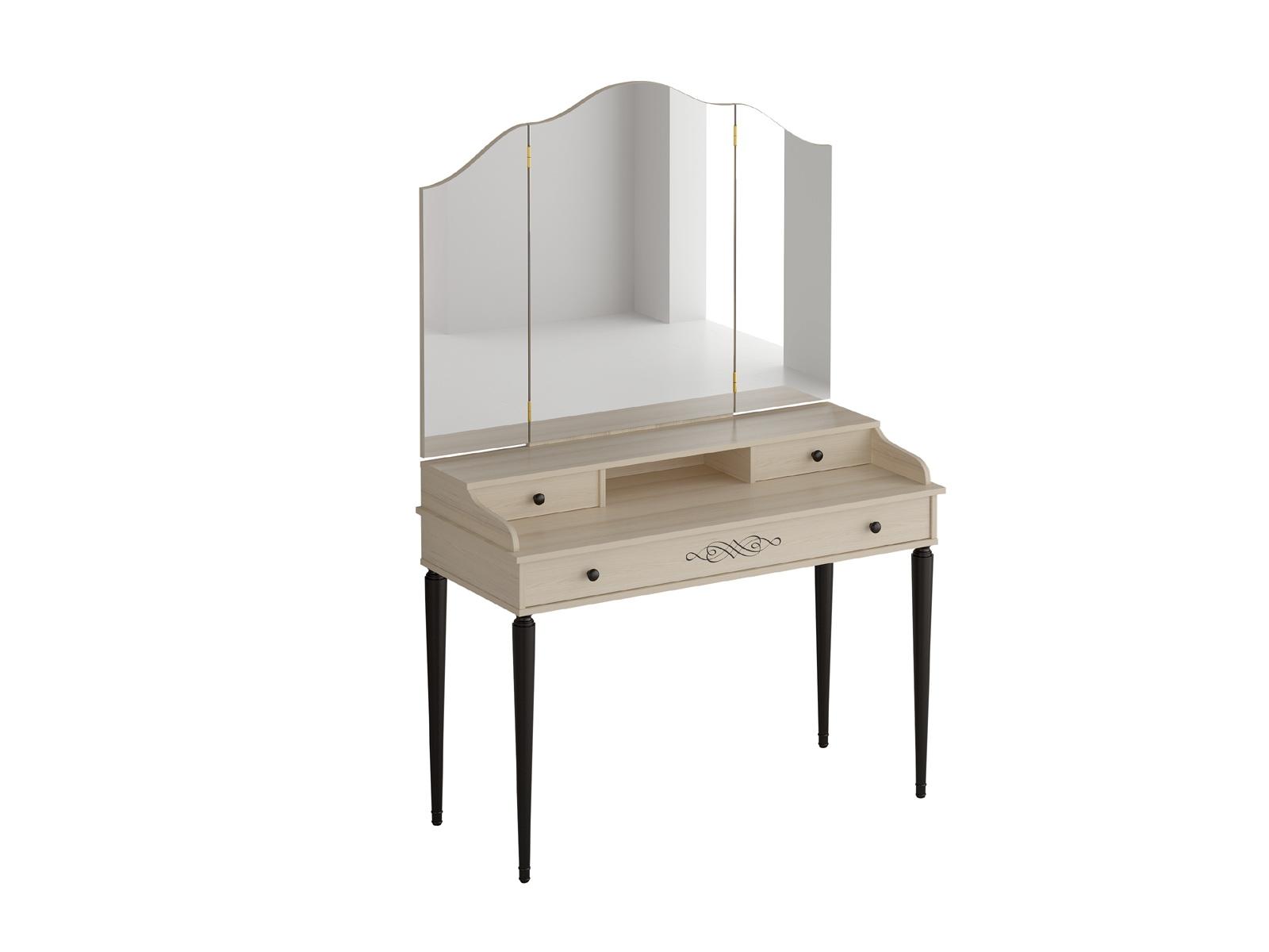 Столик туалетный с трельяжем QueenТуалетные столики<br>Туалетный столик с тремя выдвижными ящиками. Трельяж Queen представляет собой настенное зеркало с двумя распашными створками. Зеркала фигурные. Столик и трельяж необходимо крепить к стене.<br>