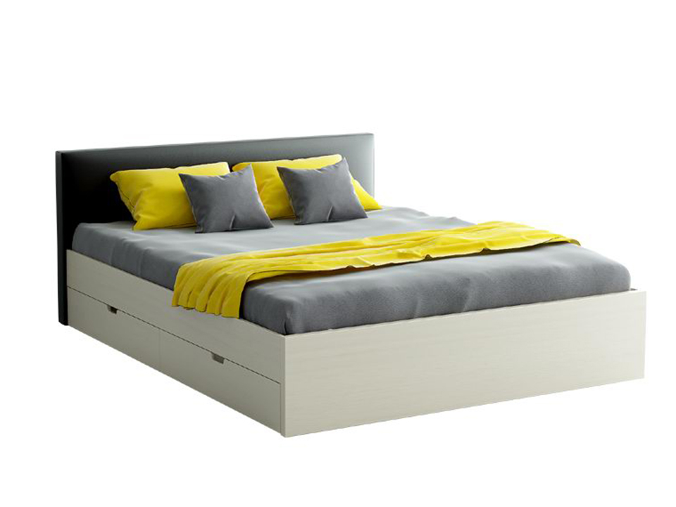 Кровать CityКровати<br>Кровать двуспальная с мягким изголовьем и четырьмя выкатными ящиками.<br>