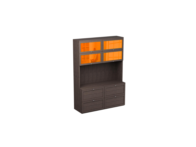 Шкаф многоцелевой NoireШкафы<br>Шкаф с нишей для телевизора, двумя выдвижными ящиками и 8 отделениями за откидными дверцами.<br>