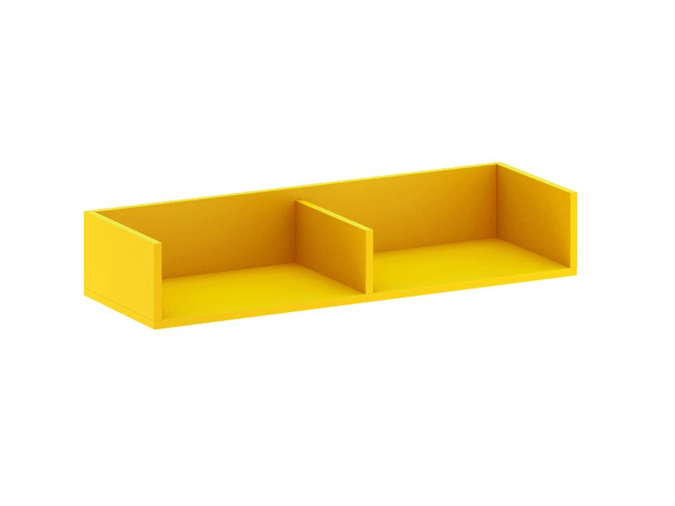 Полка навесная малая CityПолки<br>Полка разделена перегородкой на два отделения. Выполнена в ярком желтом декоре.<br>
