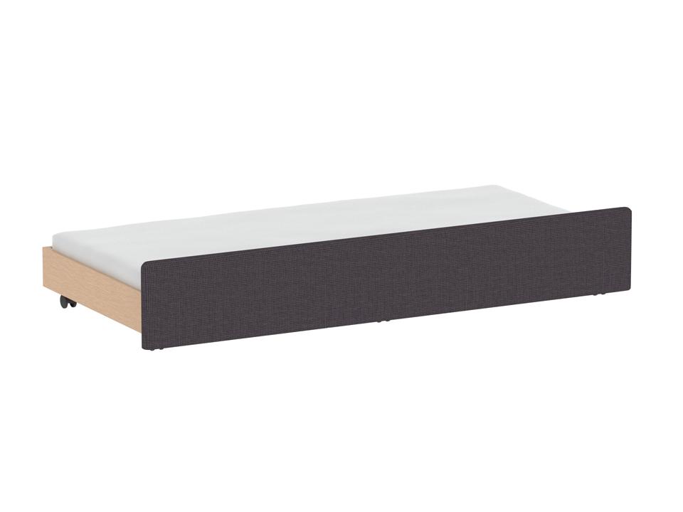 Секция StudioКровати<br>Дополнительная выкатная секция к кровати. Фасадная стенка секции облицована тканью. Секция может быть использована как кровать, укомплектованная матрацем 1900х900 и высотой до 150 мм; а также как емкость для хранения. Секция оснащена шестью колесными опор...<br>