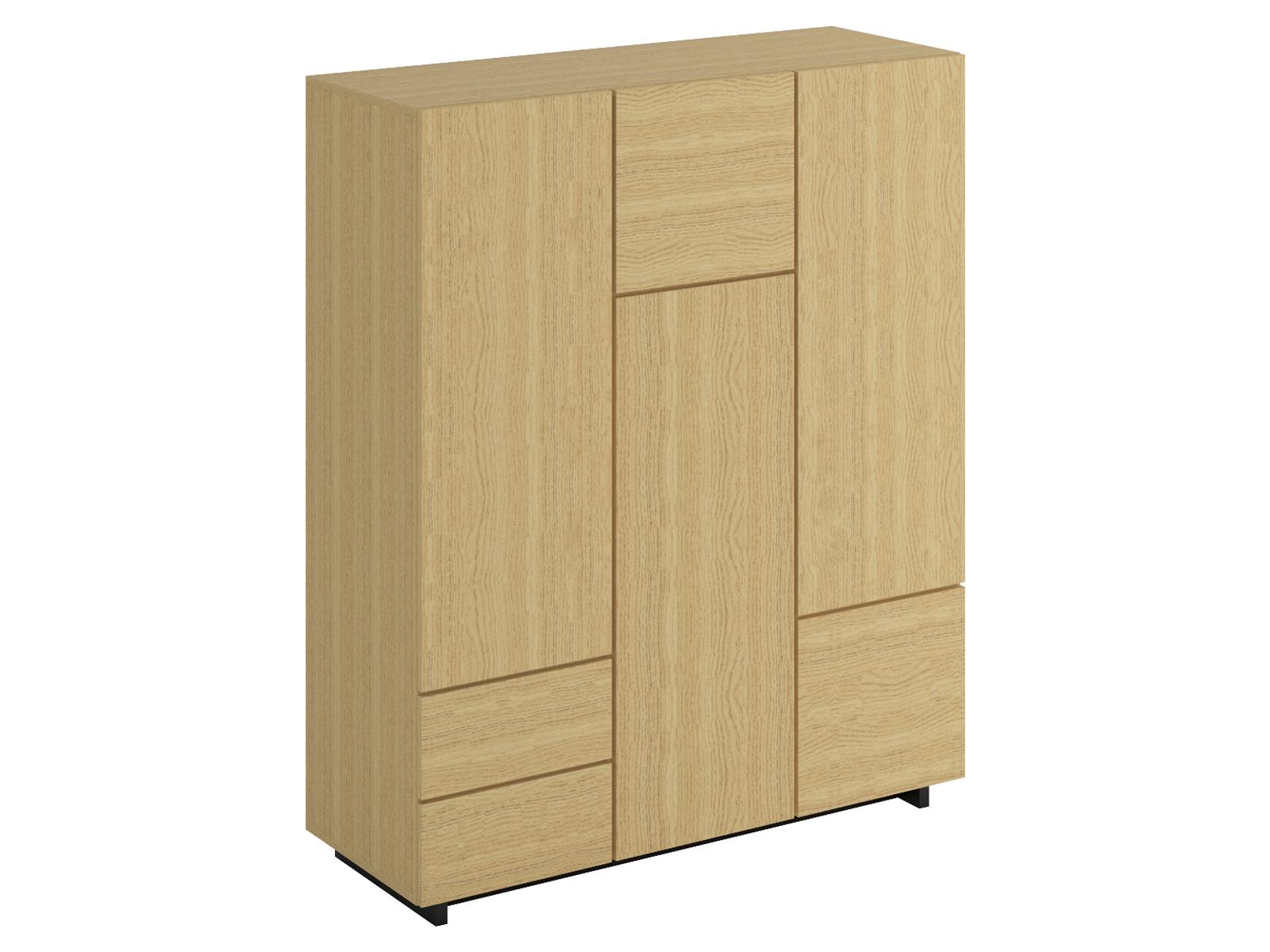 Шкаф Line 3-дверныйШкафы<br>В шкафу два выдвижных ящика, два отделения со штангой для хранения одежды на плечиках, отделение с тремя съёмными полками и два малых отделения для хранения. Дверцы открываются по принципу «нажал-открыл». Рекомендуется крепить к стене.<br>