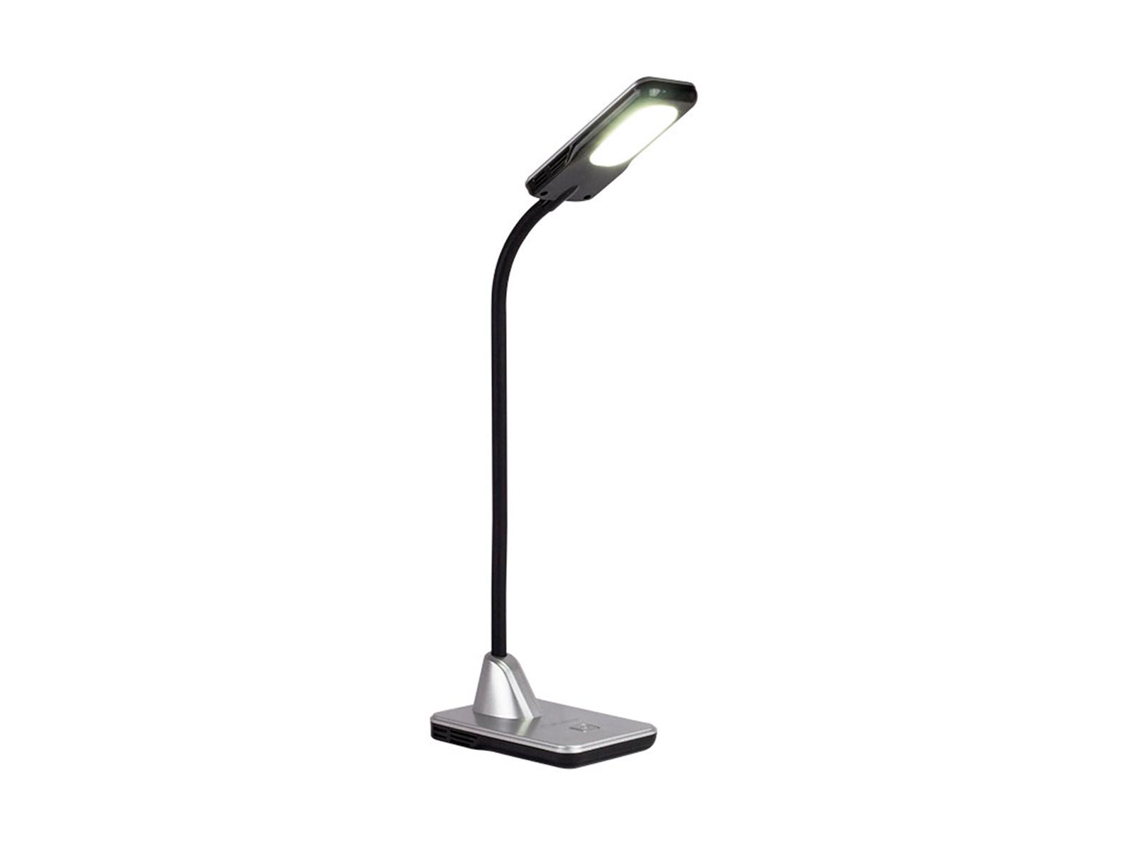 Светильник InspectorСветильники настольные<br>Светодиодный светильник имеет 3 уровня яркости, переключаемые сенсорным диммером. 3D регулировка гибкой стойки позволяет наилучшим образом настроить освещение под ваше рабочее место. Лампа мощностью 5Вт и цветовой температурой 5800К рассчитана на 30000 ча...<br>