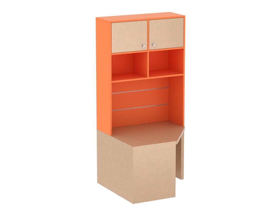 Cекци PinokkioСтолы<br>Рабоча секци углова права представлет собой письменный угловой стол с надстроенными  сверху закрытыми и открытыми полками. Дополнительно в секци можно установить полку со стаканами, металлические и щитовые полки.<br>