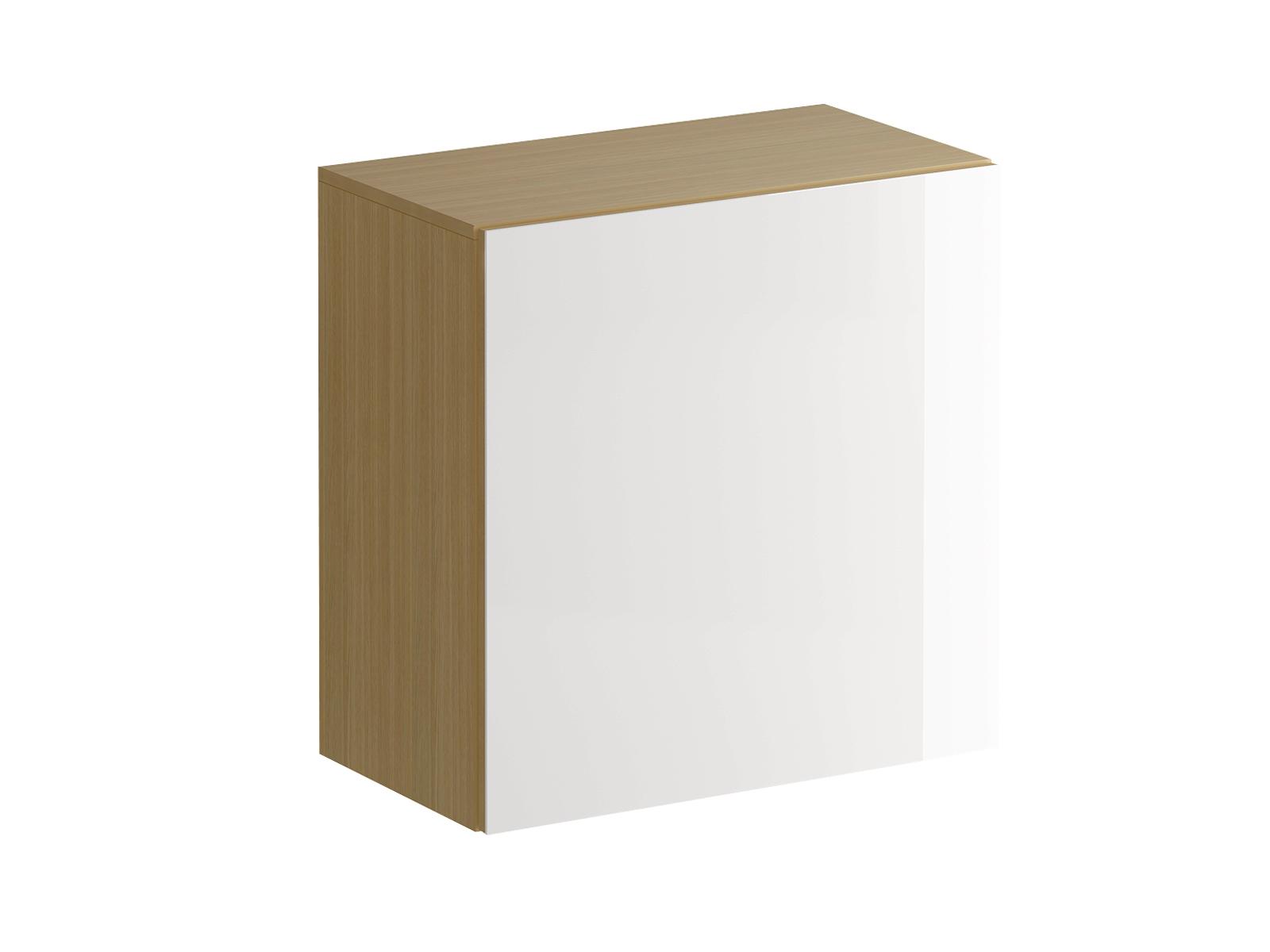Шкаф навесной GustoШкафы<br>Шкаф имеет два отделения, образованные одной съемной полкой с возможностью переустановки по высоте. Распашная дверь открывается по принципу «нажал-открыл». Задняя стенка белого цвета.<br>