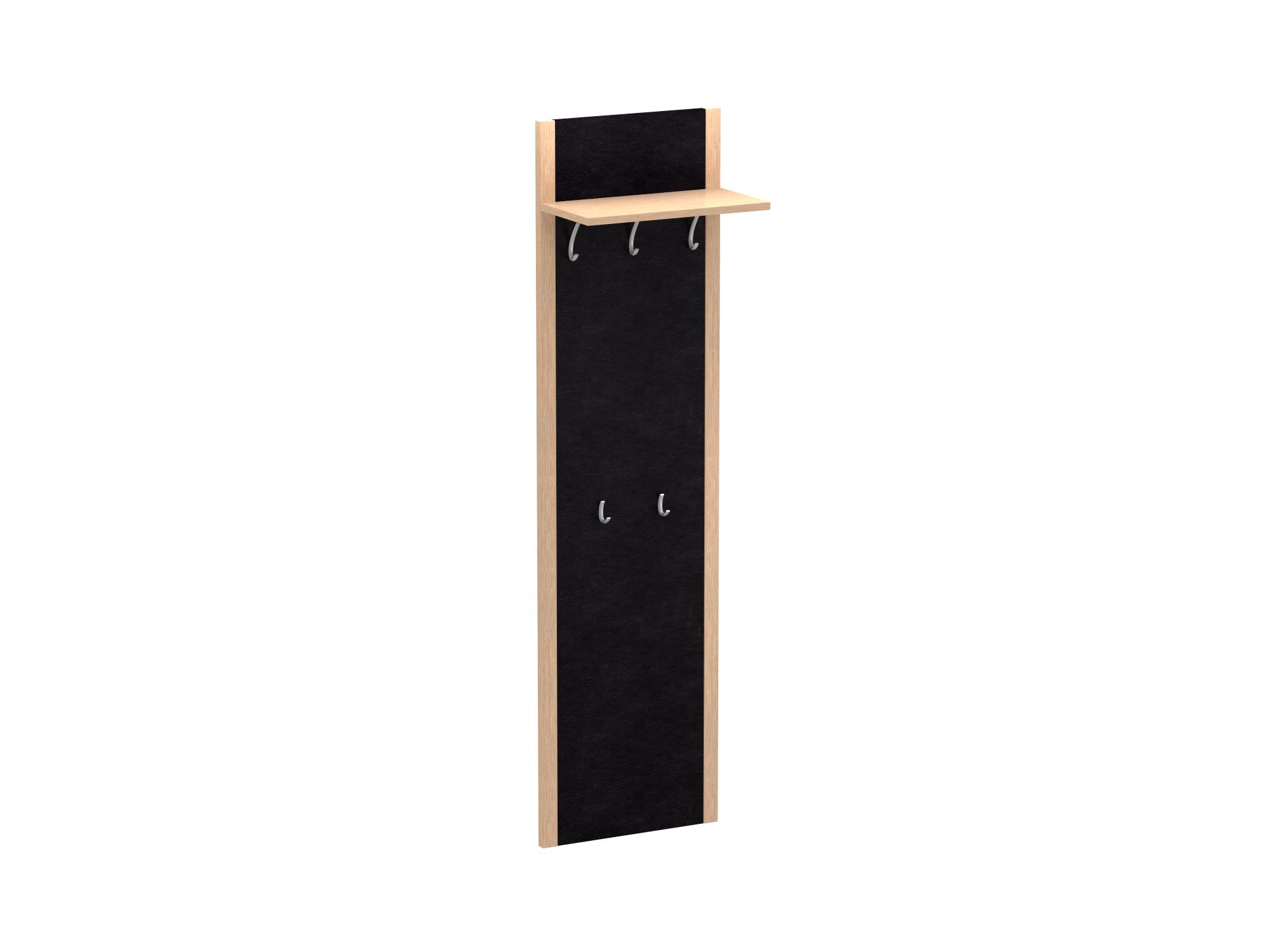 Панель CombiШкафы и вешалки<br>Панель настенная с полкой и 5 крючками для одежды. Панель декорирована вставкой из экокожи. На панели имеются отверстия для дополнительной установки подставок для обуви. Можно установить одну или две подставки.<br>