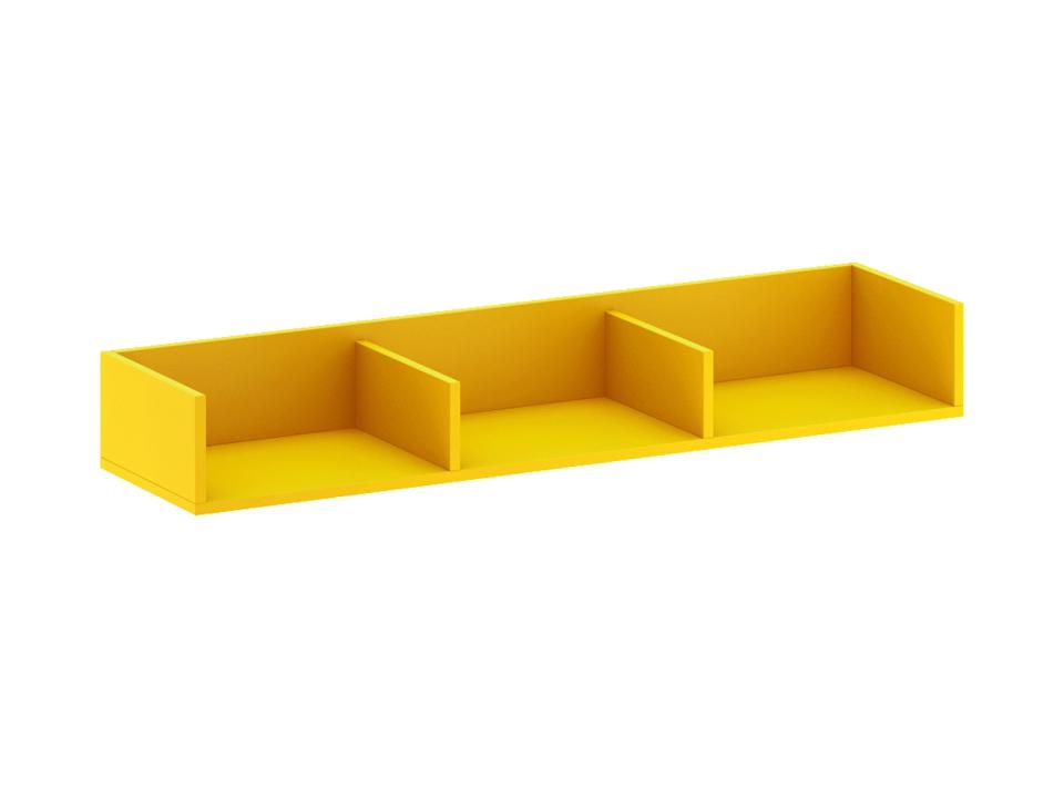 Полка навесная большая CityПолки<br>Полка разделена двумя перегородками на три отделения. Выполнена в ярком желтом декоре.<br>