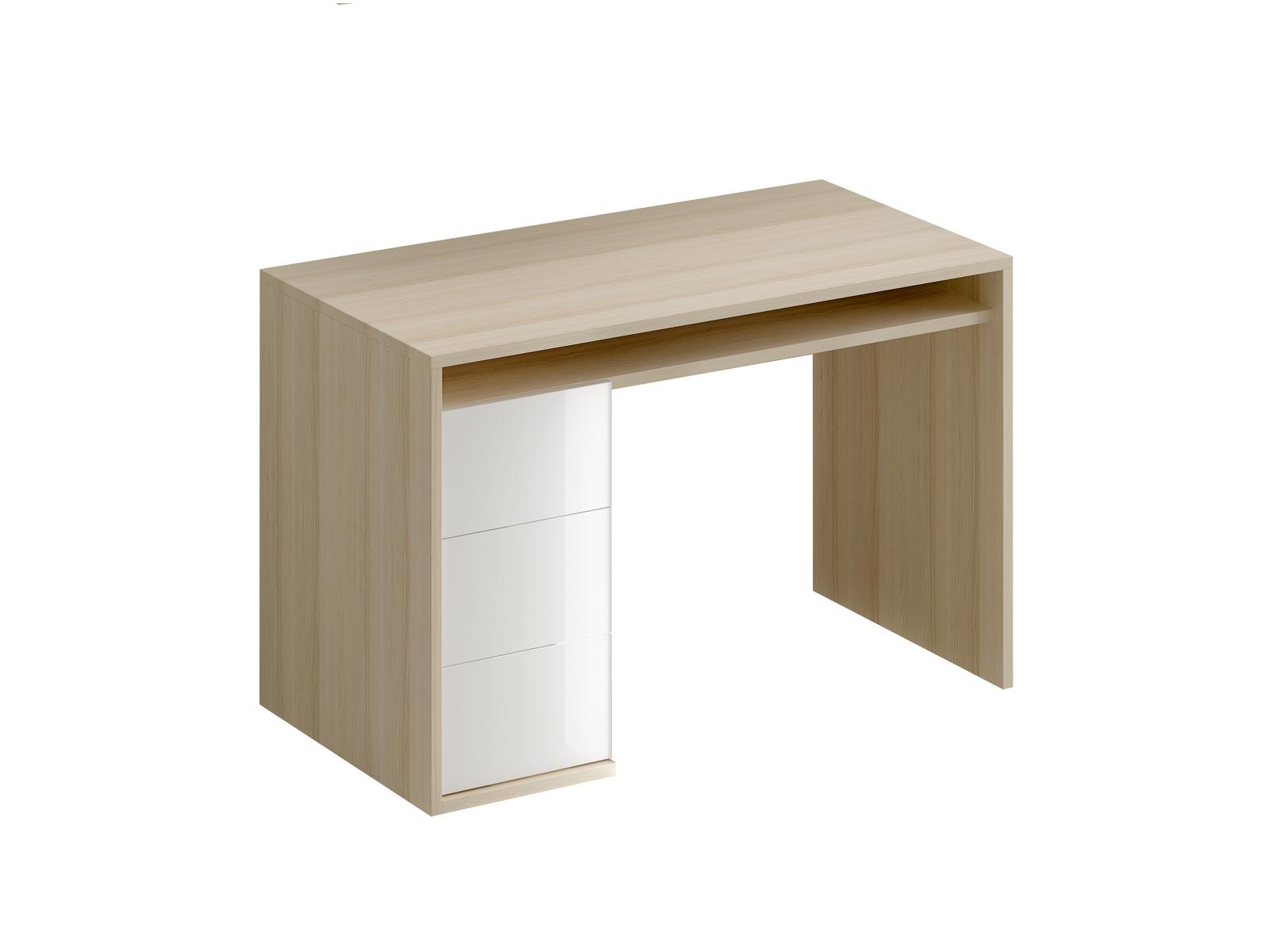 Стол письменный белый с тумбой Mix PlusСтолы<br>Стол письменный с одной тумбой. В тумбе расположено три выдвижных ящика. Под столешницей имеется ниша. В столешнице имеется отверствие для вывода кабеля<br>