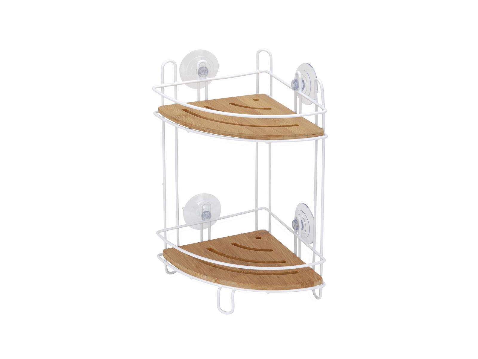 Полка White BambooТовары для ванной<br>Полка для ванной подвесная White Bamboo угловая на присосках<br>