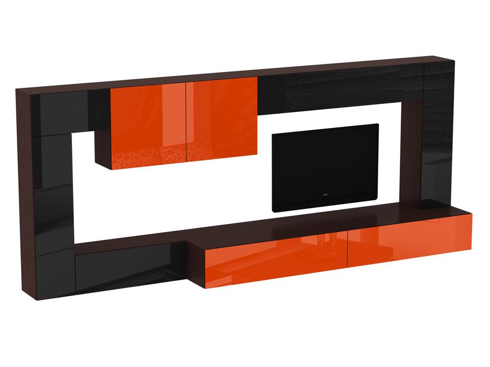 Композиция CuboОсновной раздел каталога<br>Композиция для гостиной. Все модули коллекции Сubo крепятся к стене. Двери шкафов и выдвижные ящики открываются по принципу «нажал-открыл».<br>