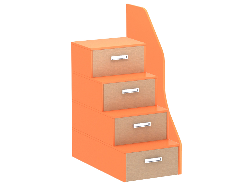 Лестница-комод PinokkioКровати<br>Лестница идёт в дополнение к секции для двухъярусной кровати. В ступеньках лестницы размещаются выдвижные ящики.<br>