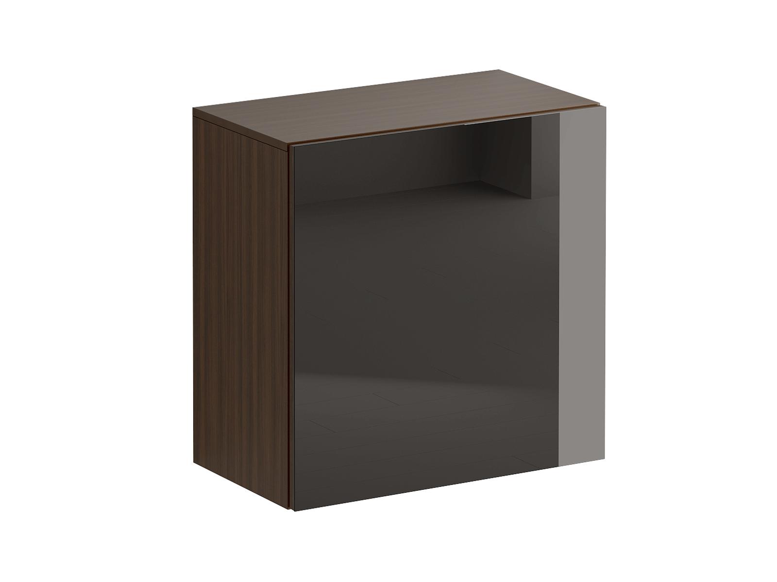 Шкаф навесной GustoШкафы<br>Шкаф имеет два отделения, образованные одной съемной полкой с возможностью переустановки по высоте. Распашная дверь открывается по принципу «нажал-открыл». Задняя стенка черного цвета.<br>