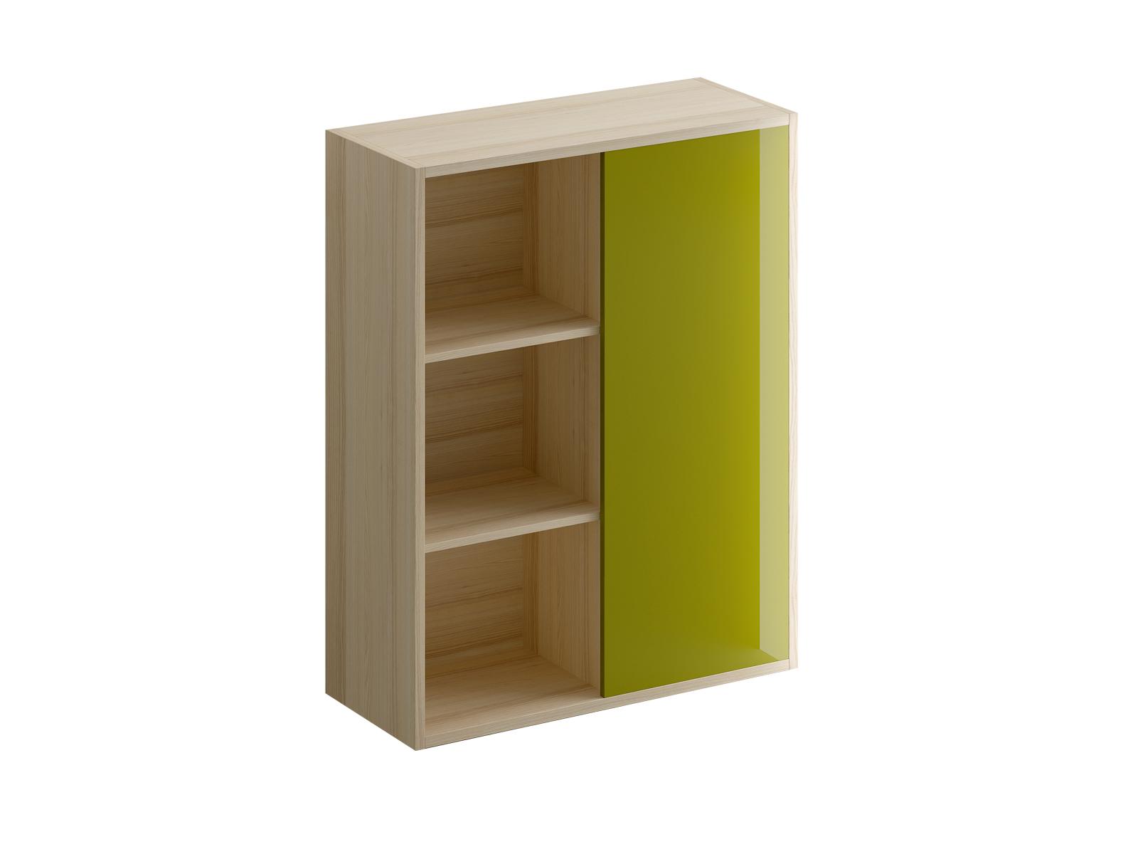 Шкаф оливковый Mix PlusШкафы<br>Шкаф для книг и документов. У шкафа двa отделения: открытые полки слева и съёмные полки за дверью справа.<br>