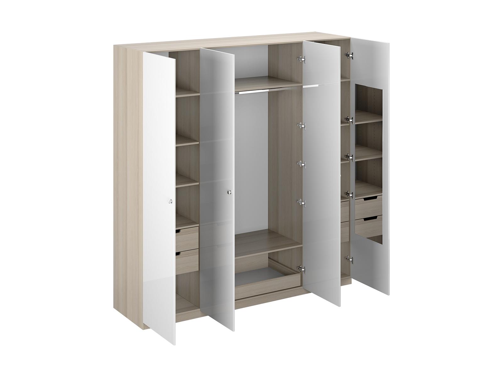 Шкаф UnoШкафы<br>Шкаф четырехдверный состоит их трёх отделений. В центральном отделении расположены две полки, штанга для одежды и выдвижной ящик. В левом и правом отделениях по - 4 полки и два выдвижных ящика. На одной дверце шкафа с внутренней стороны расположено зеркал...<br>