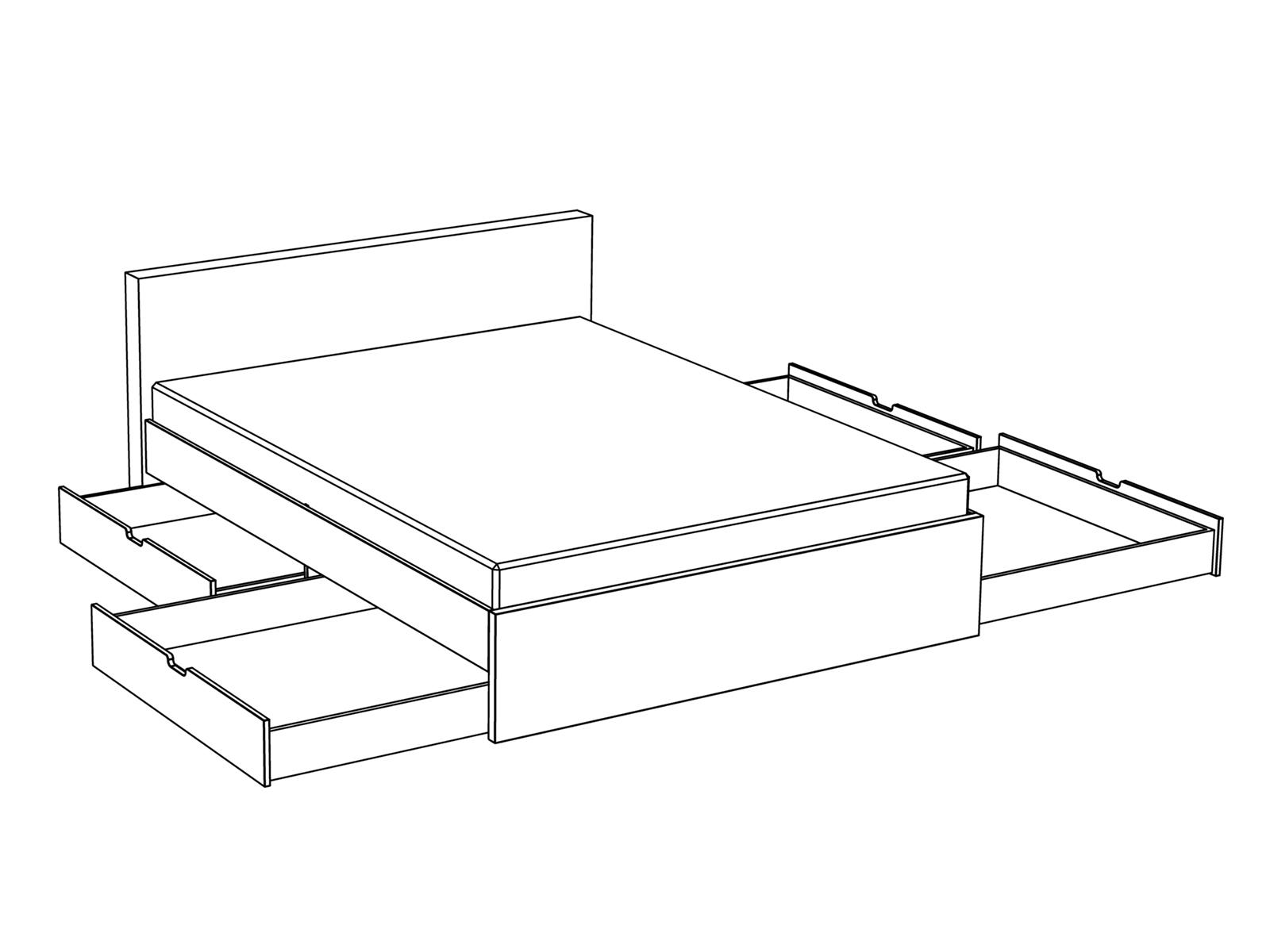 Кровать двуспальная с ящиками для хранения чертежи