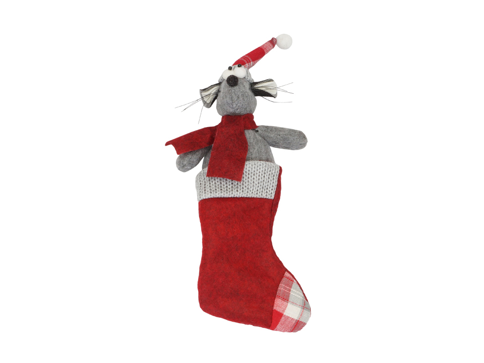Игрушка Mouse in Sock RedНовогодний декор<br>Игрушка декоративная, подвесная<br>