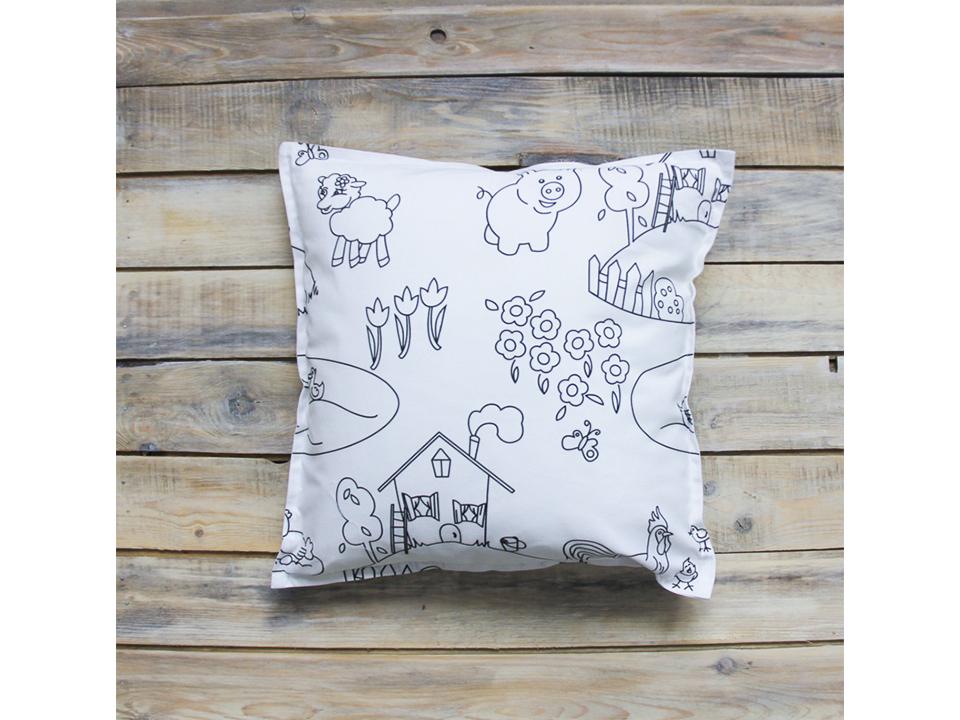 Подушка PainterВигвамы<br>Декоративная подушка ручной работы из экологичных материалов. Её можно раскрашивать специальными фломастерами Kids, которые смываются после стирки.<br>