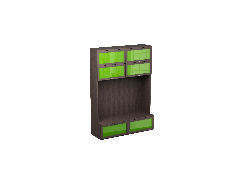 Шкаф многоцелевой NoireШкафы<br>Шкаф с нишей для телевизора и 8 отделениями за откидными дверцами.<br>