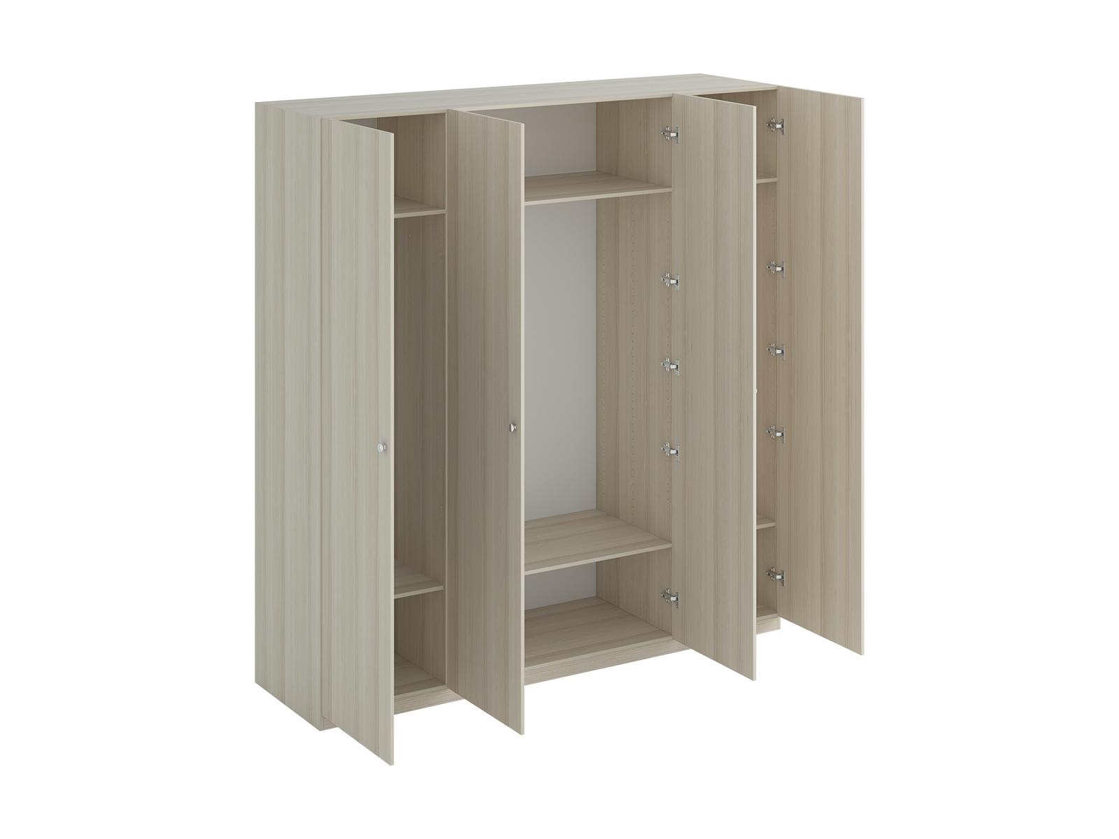 Шкаф Uno Ш4Шкафы<br>Шкаф четырехдверный состоит их трёх отделений. В отделениях расположены верхние стационарные и нижние съемные полки. Шкаф установлен на регулируемые опоры. Данную мебель рекомендуется крепить к стене. Ручки и внутренние элементы продаются отдельно.<br>