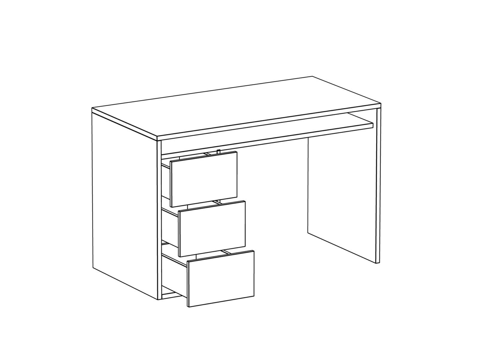 Стол письменный белый с тумбой Mix Plus
