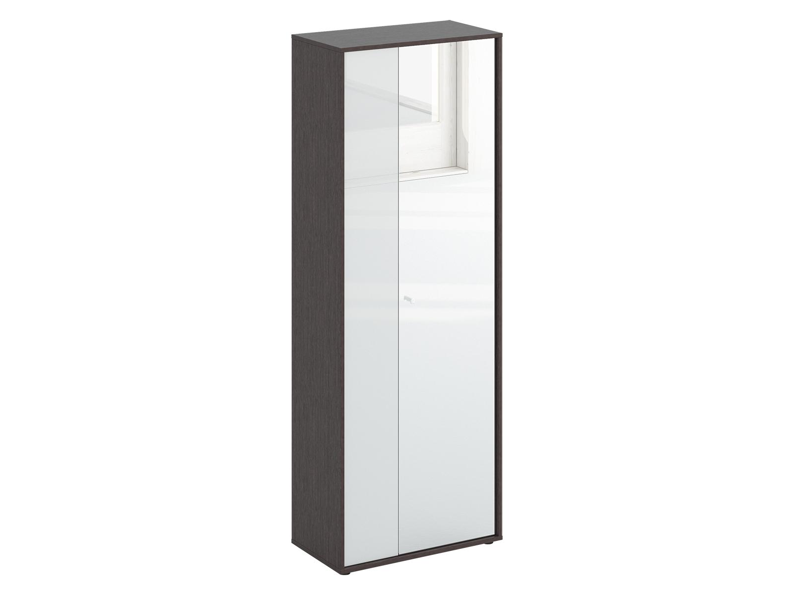 Шкаф двухдверный LatteШкафы и вешалки<br>Шкаф двухстворчатый. Наполнение шкафа: выдвижная штанга для одежды и две полки. Узкая дверь декорирована окрашенным стеклом, на широкую дверь – наклеено зеркало. Двери можно менять местами. Шкаф крепится к стене.<br>