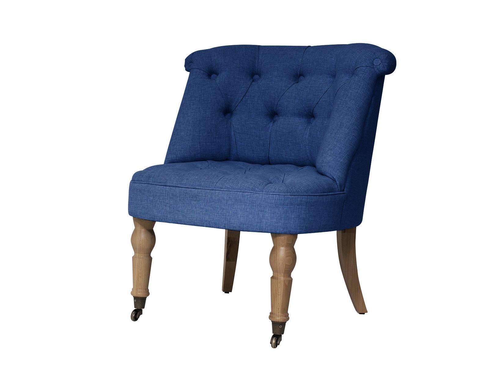 Кресло VisconteКресла<br>Низкое мягкое кресло на точёных ножках с колёсиками. Спинка и сиденье декорированы стёжкой капитоне на пуговицах.<br>
